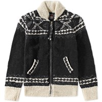 Chamula Fair Isle Zipper Cardigan Black