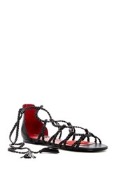 Charles Jourdan Iggy Woven Wrap Around Sandal Black