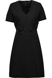 Raoul Dafne Lace And Velvet Trimmed Ponte Mini Dress Black