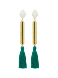 Marte Frisnes Gold Metallic And Green Izzy Sterling Silver Tassel Drop