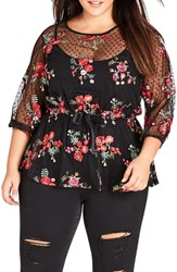 City Chic Plus Size Embroidered Dot Mesh Top Black