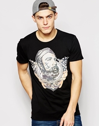 Solid T Shirt With Tattooed Sailor Print Black