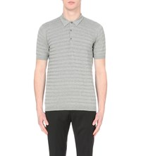 John Smedley Runkle Knitted Polo Shirt Silver