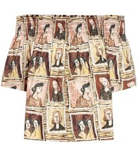 Burberry Framed Heads Printed Cotton Top Multicoloured