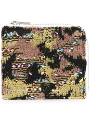 Coohem Knit Tweed Camouflage Wallet Calf Leather Polyester Cotton Acrylic Green