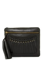 Cynthia Vincent Bitten Leather Tassel Clutch Black