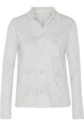 Majestic Slub Linen And Silk Blend Jersey Shirt Light Gray