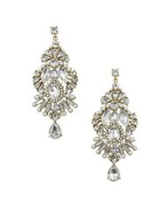 Belle By Badgley Mischka Pearl Party Crystal Statement Earrings Gold