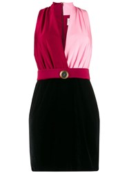 Fausto Puglisi Contrast Fitted V Neck Dress 60