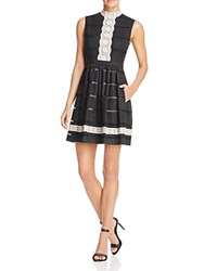 Tracy Reese Lace Applique Dress Black Oatmeal
