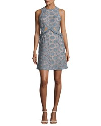 Self Portrait Cutwork Star Suede Mini Dress Blue