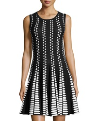 Line Knit Diamond Print Sleeveless Dress Black White