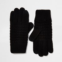 River Island Mens Black Waffle Knit Gloves