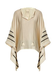 Velvet By Graham And Spencer X Kirsty Hume Petunia Cotton Poncho Top Cream Multi