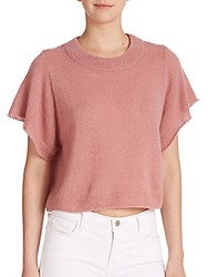 Mason By Michelle Mason Cashmere Silk Cropped Sweater Rose