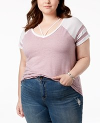 Planet Gold Trendy Plus Size Strappy Football T Shirt Very Grape