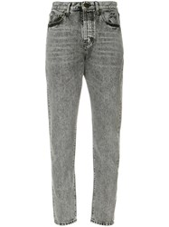 Saint Laurent High Waisted Cropped Jeans Cotton Grey