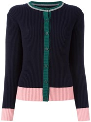 Chinti And Parker Ribbed Colour Block Cardigan Blue