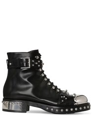 Alexander Mcqueen 30Mm Studded Leather Ankle Boots Black