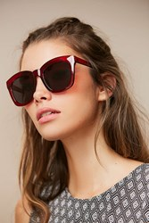 Urban Outfitters Brea Oversized Rectangle Sunglasses Red