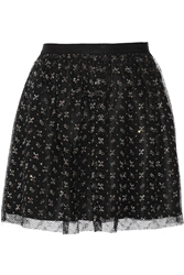 Band Of Outsiders Metallic Lace And Washed Silk Mini Skirt Black
