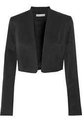 Alice Olivia Woman Londyn Cropped Satin Crepe Jacket Black