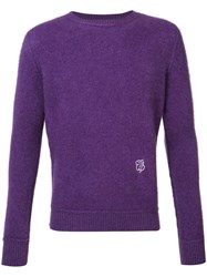 The Elder Statesman Cashmere Monogram Jumper Pink Purple
