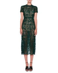 Valentino Short Sleeve Lace Midi Dress Green