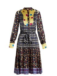 Duro Olowu Contrast Panel Floral And Check Print Silk Dress Blue Print