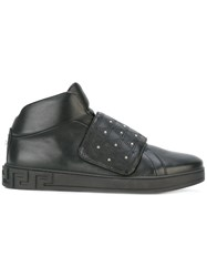 Versace Studded High Top Sneakers Men Calf Leather Leather Rubber 42 Black