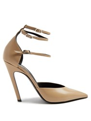 Balenciaga Slash Triple Strap Leather Pumps Nude