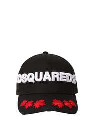 Dsquared Embroidered Cotton Canvas Baseball Hat Black