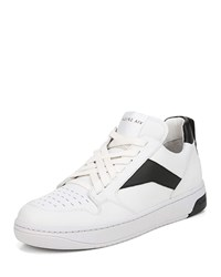 Via Spiga Lowrie Silky Leather Mid Top Sneakers Porcelainblack