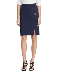 Ralph Lauren Lace Up Pencil Skirt Navy