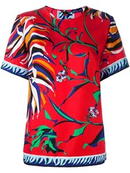 Emilio Pucci Floral Print T Shirt Yellow And Orange