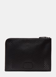 Valentino Perforated Leather Document Case Black