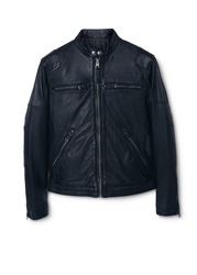 Mango Cuir Leather Biker Jacket Black