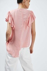 Boutique Jacquard Ruffle Top By Pink