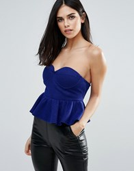 Unique 21 Bustier Peplum Top Blue