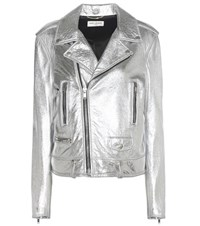 Saint Laurent Classic L01 Leather Biker Jacket Silver