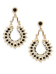 Amrita Singh Noho Black Stone Horseshoe Drop Earrings Gold Black