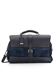 Brioni Leather And Printed Suede Duffel Bag Blue