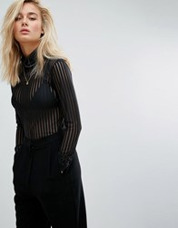 Moss Copenhagen Long Sleeve Top In Sheer Stripe With High Neck Black