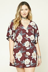 Forever 21 Plus Size Floral Romper Burgundy Taupe