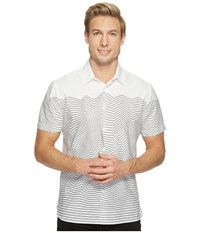 Perry Ellis Short Sleeve Graphic Linear Print Shirt Bright White Men's Short Sleeve Button Up