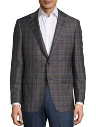 Saks Fifth Avenue Plaid Wool Sportcoat Brown