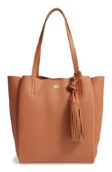 Vince Camuto Small Taja Leather Tote With Tassel Charm Brown Chestnut Brown