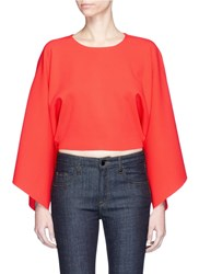 Stella Mccartney Oversized Sleeve Cropped Knit Top Red