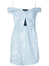 Thakoon Sweetheart Neck Off The Shoulder Dress Blue