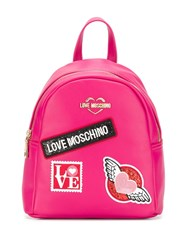 Love Moschino Patch Detail Backpack Pink